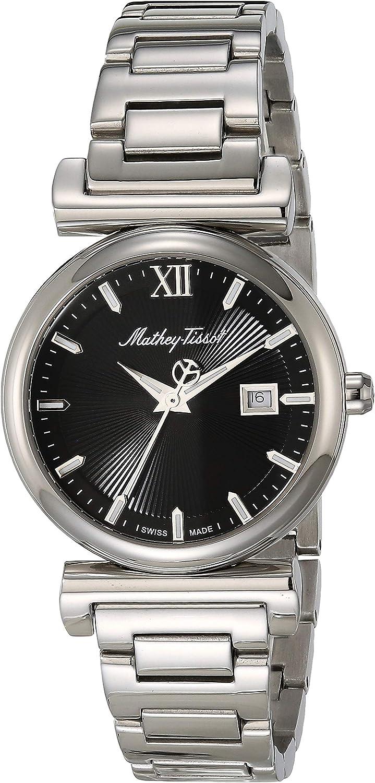 MATTHEY-TISSOT - Correa de acero inoxidable para mujer, cuarzo, plata, 15 relojes casuales (Modelo: D410AN)