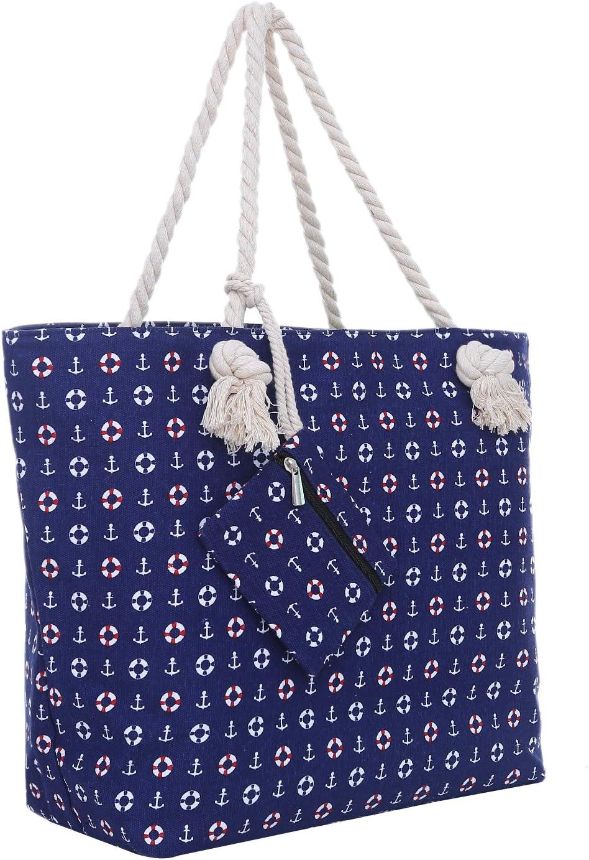 Bolsa de Playa Grande con Cremallera 58 x 38 x 18 cm diseño marítimo-Playa Azul Shopper Bolsa de Hombro