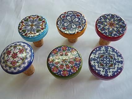 Tapón + placa platillo bajo de botella Vietri pintados a mano de cerámica de corcho de