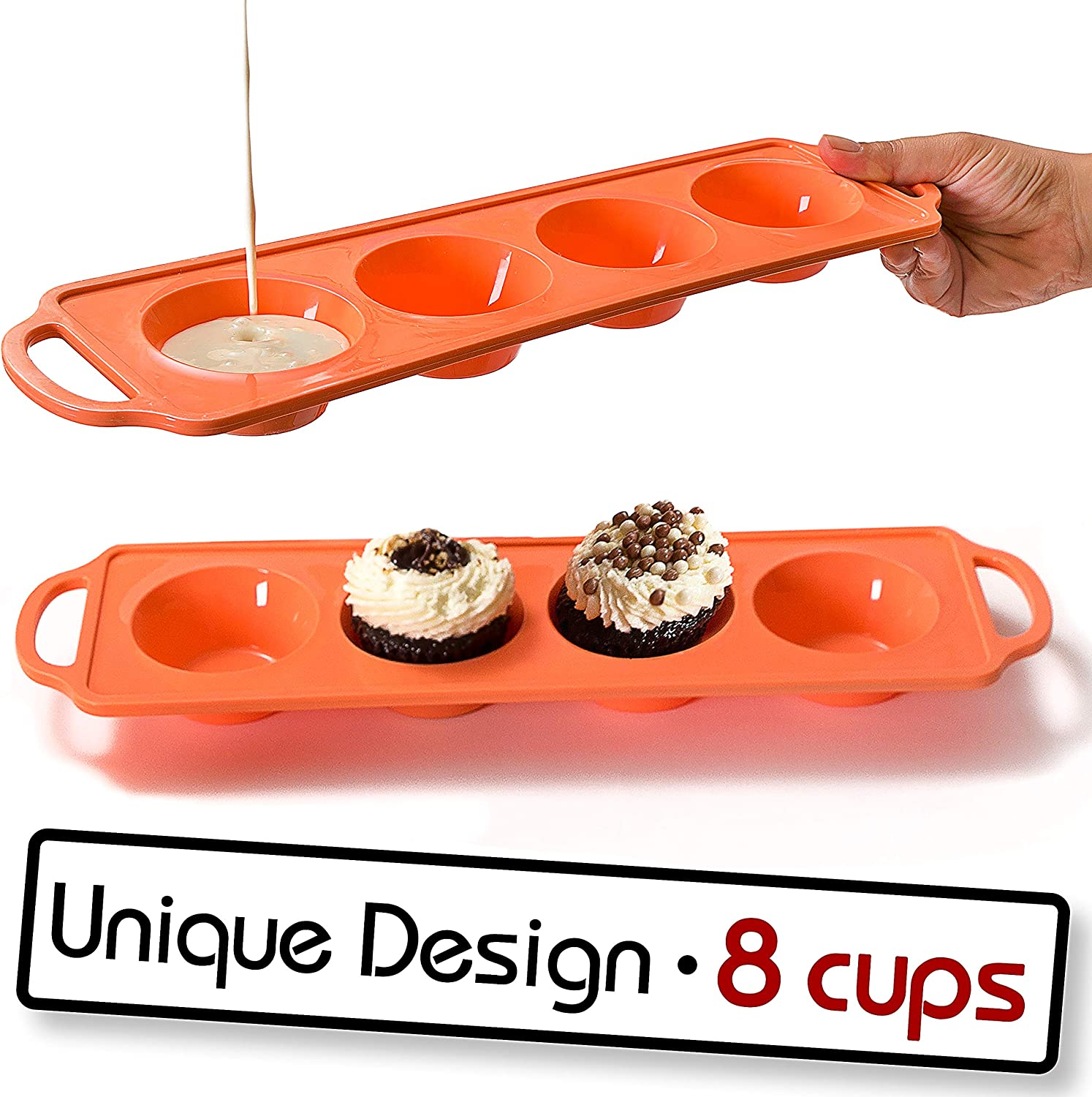 Moty, 8 Cup - Silicone Muffin Pan, Sturdy Handle, Cupcake Baking/Non - Stick Silicone Mold/Dishwasher - Microwave Safe