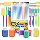 glokers Complete Set of 30 Paint Brushes Bundle with Crayola Washable Kid's Paint (6 Count) – Washable Kids Paints and Paintbrush Set - 2oz Assorted Bottles – Perfect for Kids Age 3+