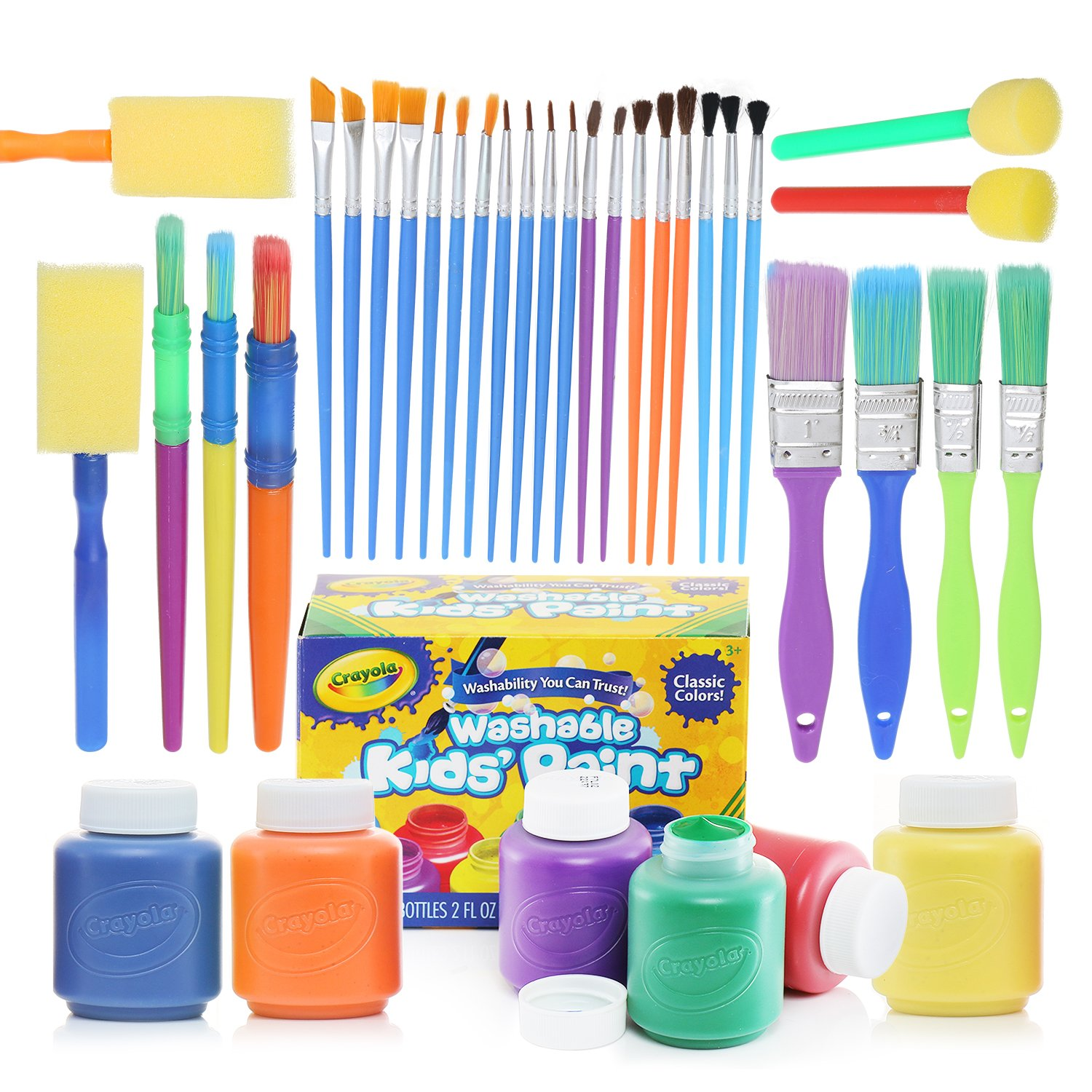 glokers Complete Set of 30 Paint Brushes and 6 Colors of Crayola Paints – Washable Kids Paints and Paintbrush Set - 2oz Assorted Bottles – Perfect for Kids Age 3+