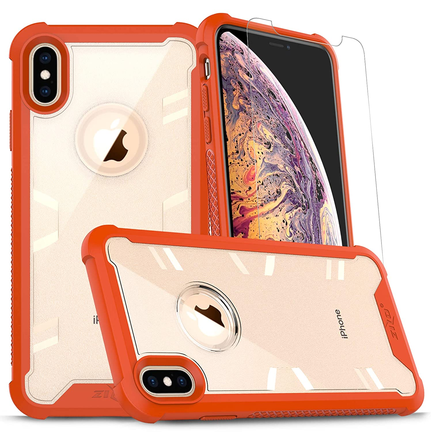 3e7bf8bc7868 Amazon.com: Zizo Proton Series Compatible with iPhone Xs Max Case Military  Grade Drop Tested with Tempered Glass Screen Protector Orange Clear: Cell  Phones ...