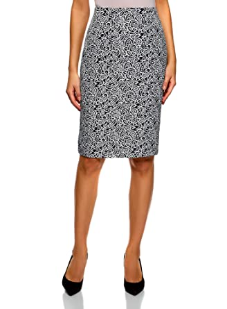0a61d9cf06fb oodji Collection Damen Gerader Jacquard-Rock  Amazon.de  Bekleidung