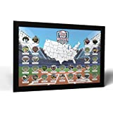 Thunder Bunny Labs Personalized Ballparks Photo Map - Made in America (Black Frame)