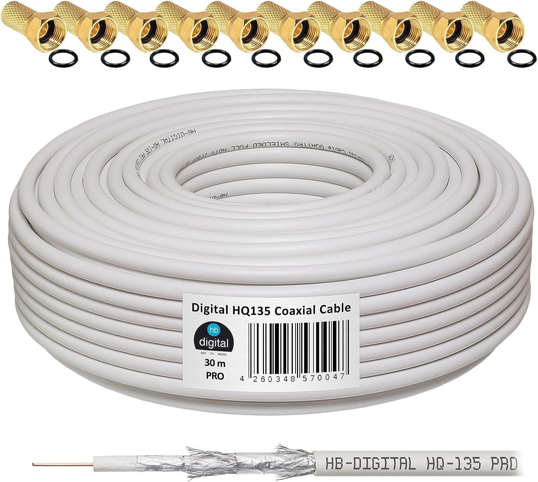 130 db 100 m Cable Coaxial SAT HQ-135 PRO 4 x escudada para DVB-S//S2 DVB-C y sistemas DVB-T BK plus 10 F-conector Dorado-Plateado incluye juego de