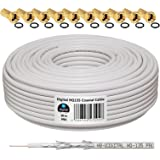 HB-Digital - Cable coaxial para DVB-S, S2 DVB-C y DVB-T(130 dB, 30 m, HQ-135, Pro, apantallamiento cuádruple, BK, 10 conectores F dorados)
