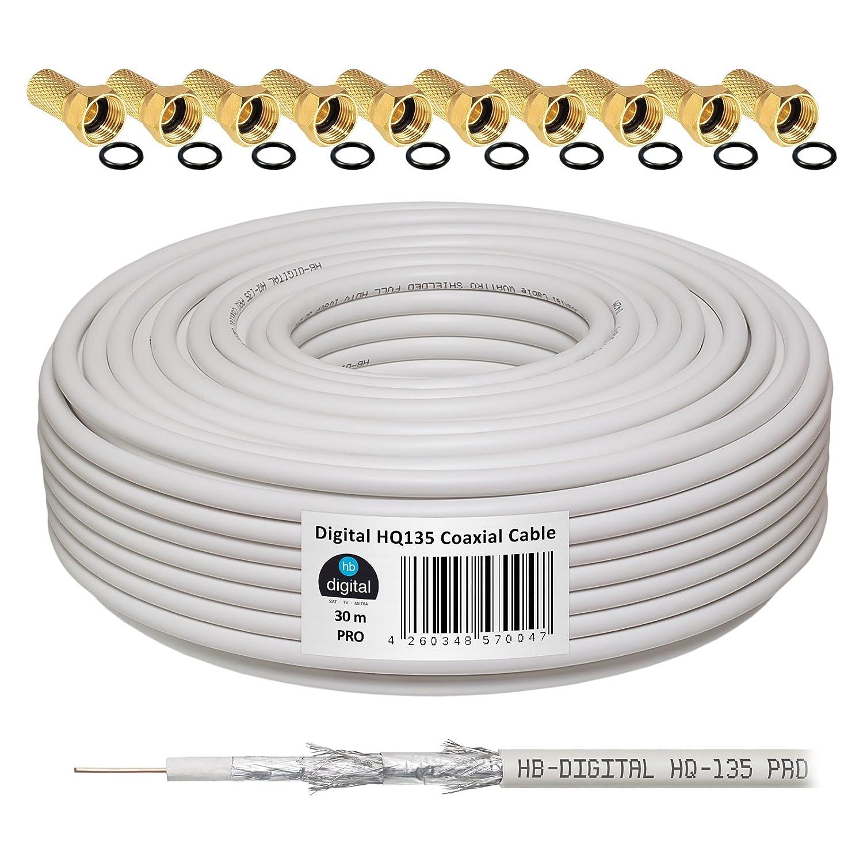 HB-Digital - Cable coaxial para DVB-S, S2 DVB-C y DVB-T(130 dB, 30 m, HQ-135, Pro, apantallamiento cuádruple, BK, 10 conectores F dorados): Amazon.es: ...