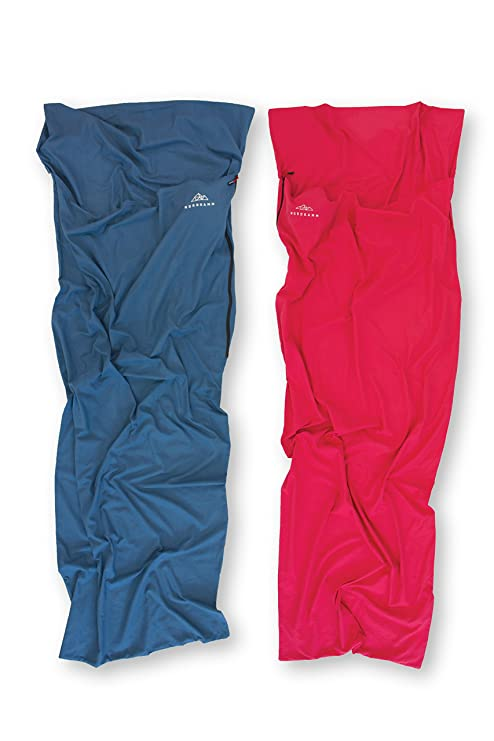 NORDKAMM - Saco de Dormir 100% algodón, Azul, Sábana para Saco de Dormir, acoplable para 2 Personas, para Viajar, Interior, Verano, Cotton Liner, ...