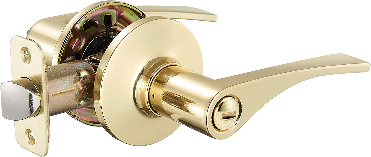 AmazonBasics Victorial Door Lever With Lock, Privacy, Polished Brass