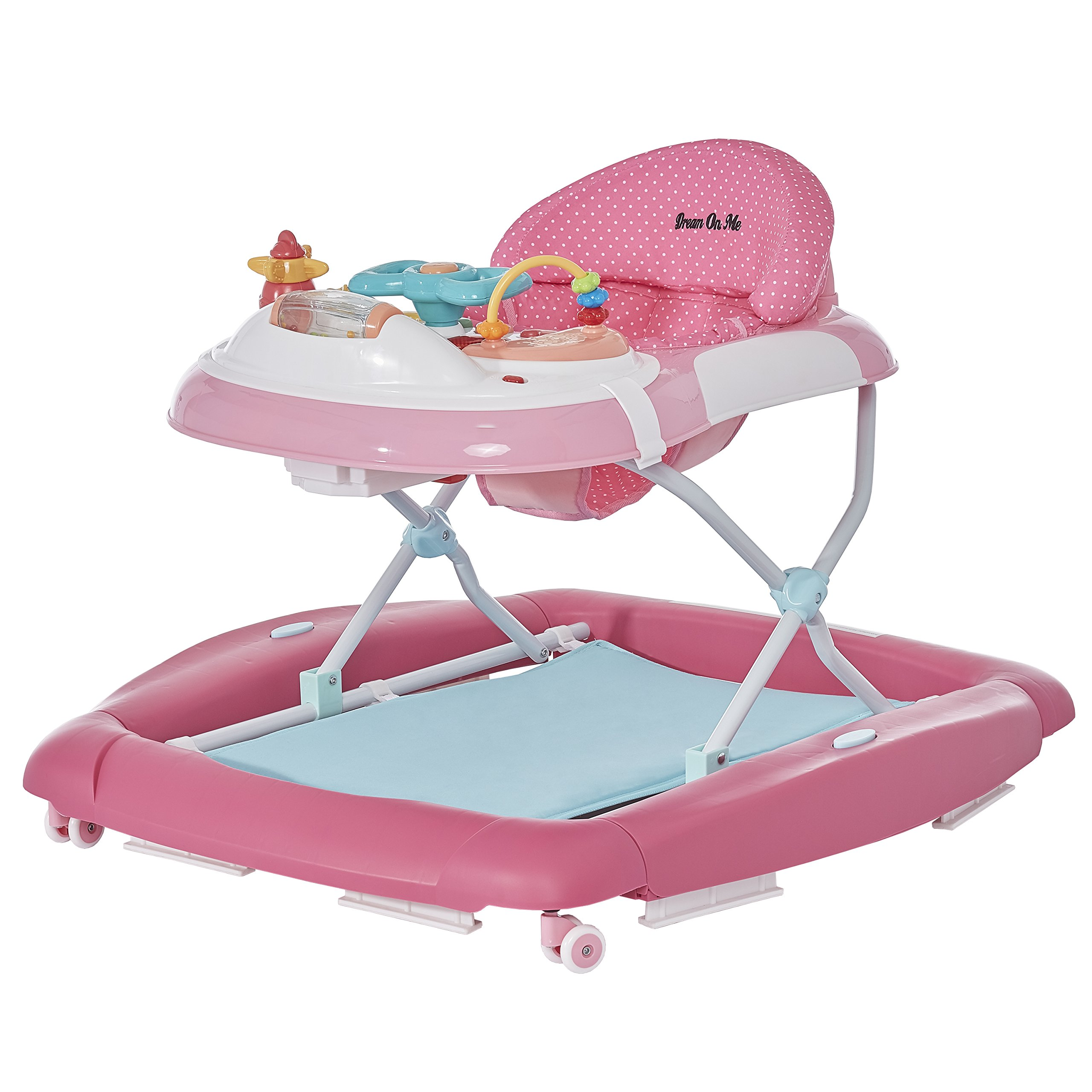 Dream On Me 2 in 1 Crossover Musical Walker, Mint/Pink