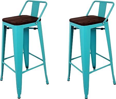 La Silla Española - Pack 2 Taburetes estilo Tolix con respaldo y asiento acabado en madera. Color Turquesa. Medidas 95x43x43: Amazon.es: Hogar