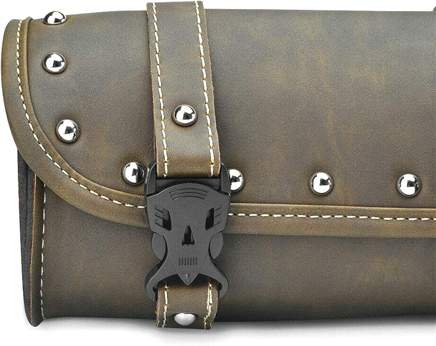 LIUSHUI Motorcycle Leather Bag Saddle Bag Tail Bag Barrel Luggage Roll Tool Pouch Storage with 2 Mounting Straps