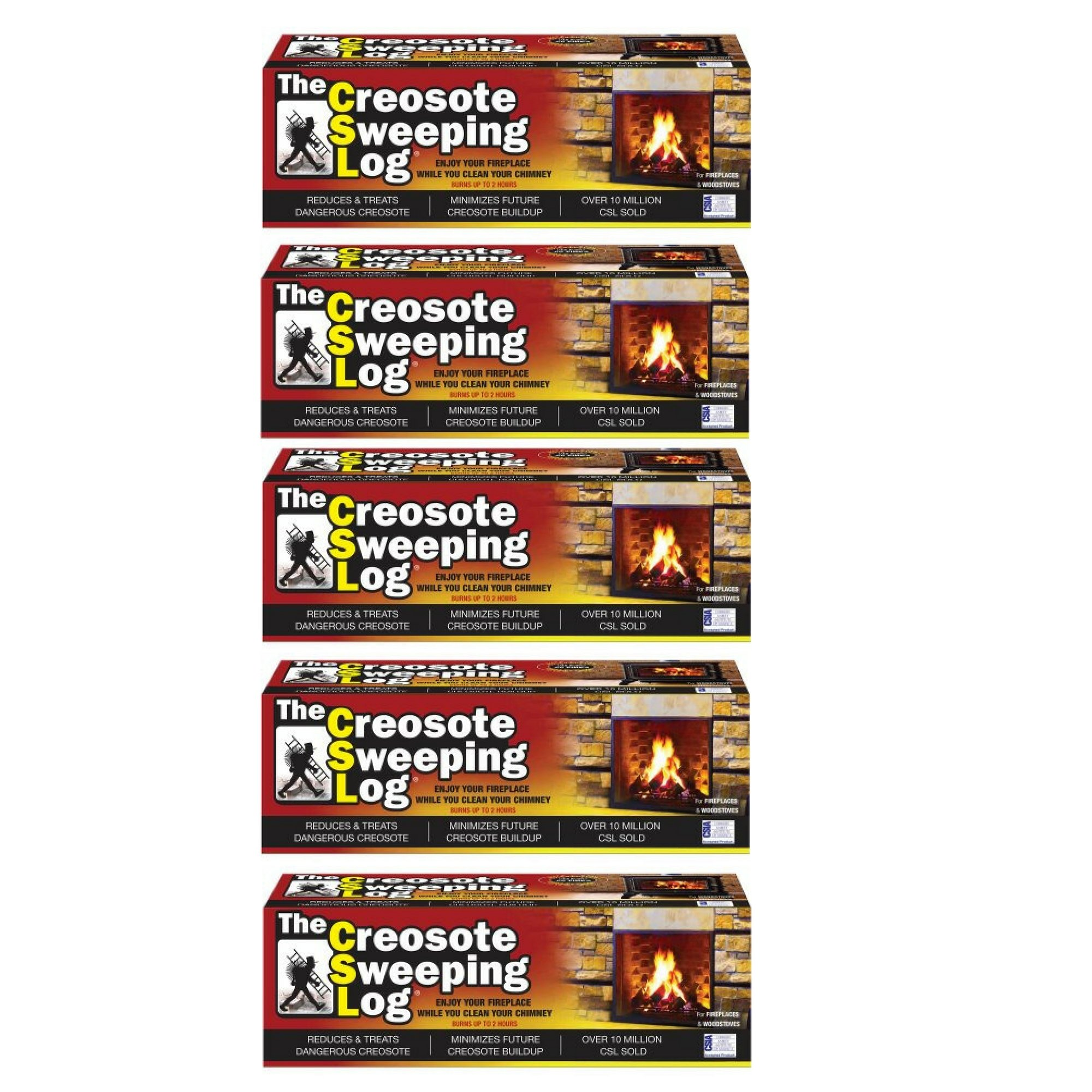 Creosote Sweeping Log For Fireplaces - 5 Pack