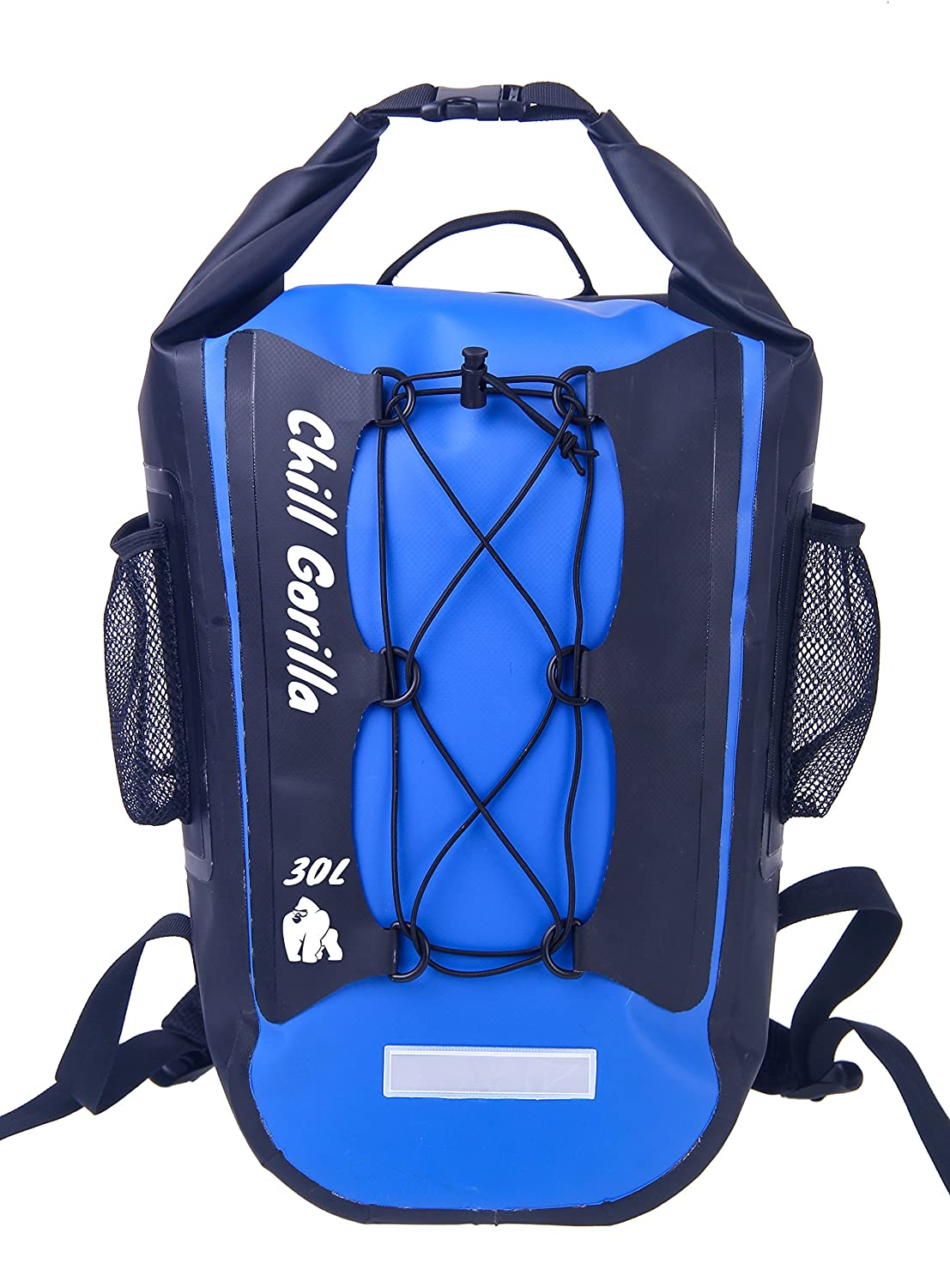 Amazon.com   Chill Gorilla Pro Waterproof Dry Bag Backpack 30L. Super  Strong, Mesh Side Pockets, Padded Shoulder Straps, Waist Straps    Reflective Night ... 407f64c35b