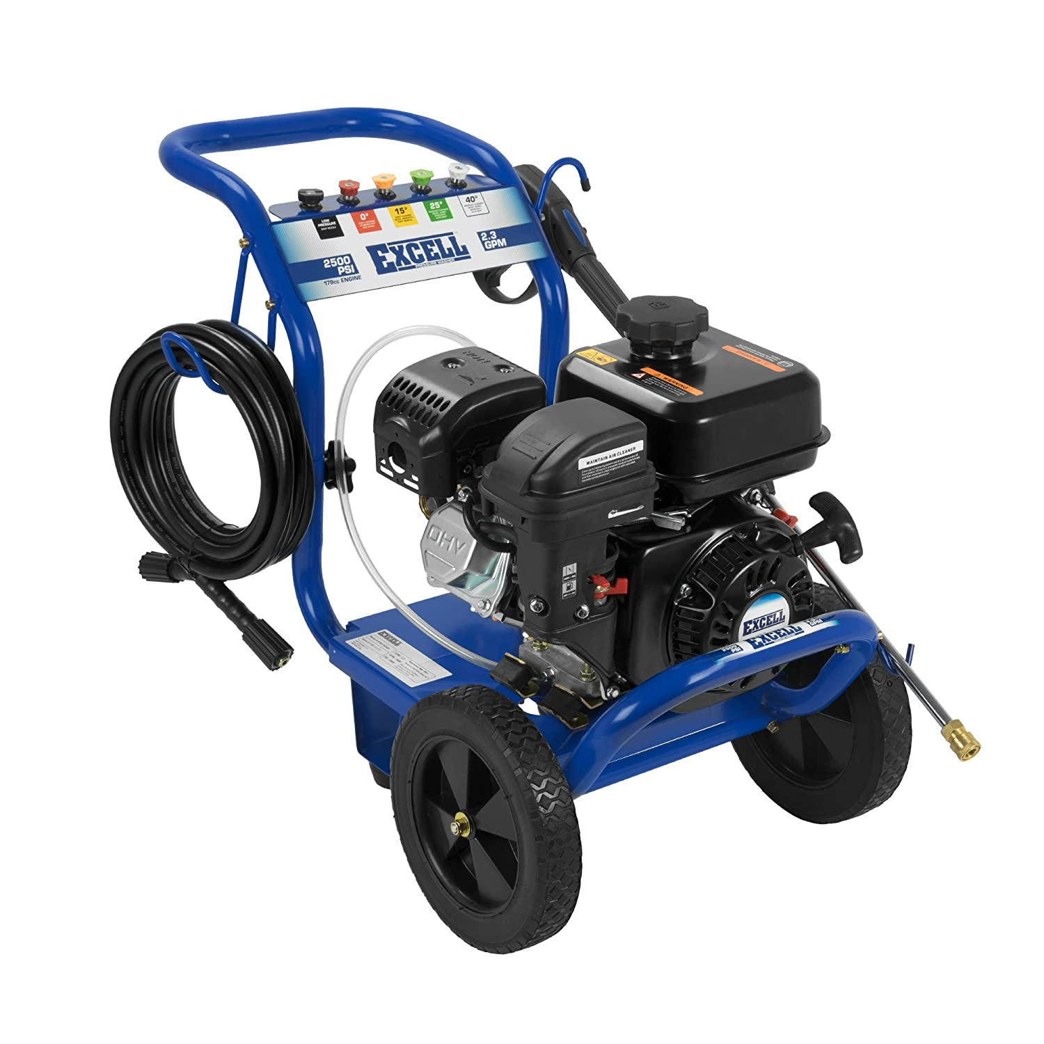 Amazon.com : Excell EPW1792500 2500 PSI 2.5 GPM Cold Water 179CC Gas  Powered Pressure Washer : Garden & Outdoor