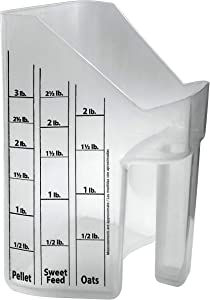 Feed scoop with measurements Large 3-quart measuring bucket for horses or pig feed Clear Equine Livestock scooper for grain storage containers Oats Pellet Sweet Feed cup Sturdy animal pet feeder