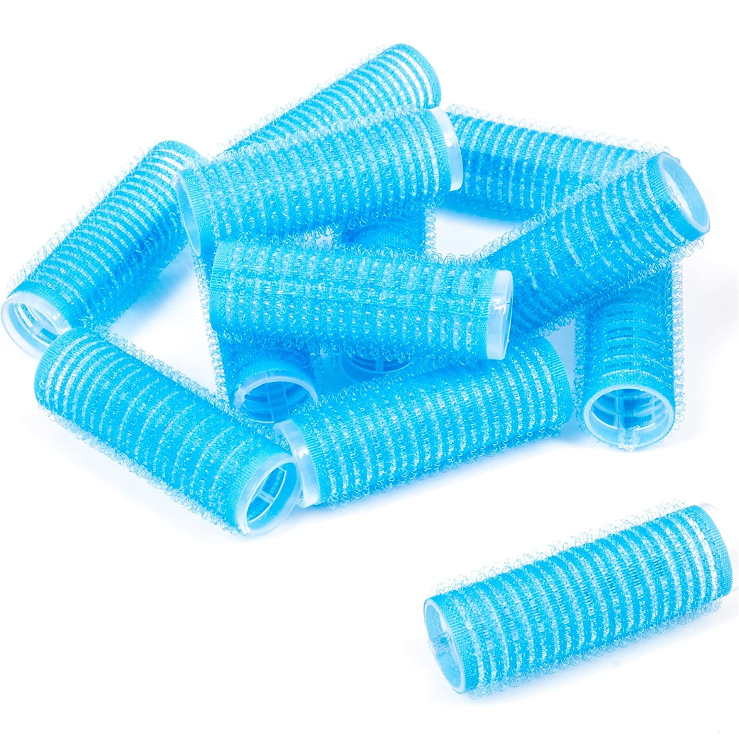 2 Packs Of 6 Blue Self Grip 20mm Velcro Hair Rollers (12 Total) White Hinge