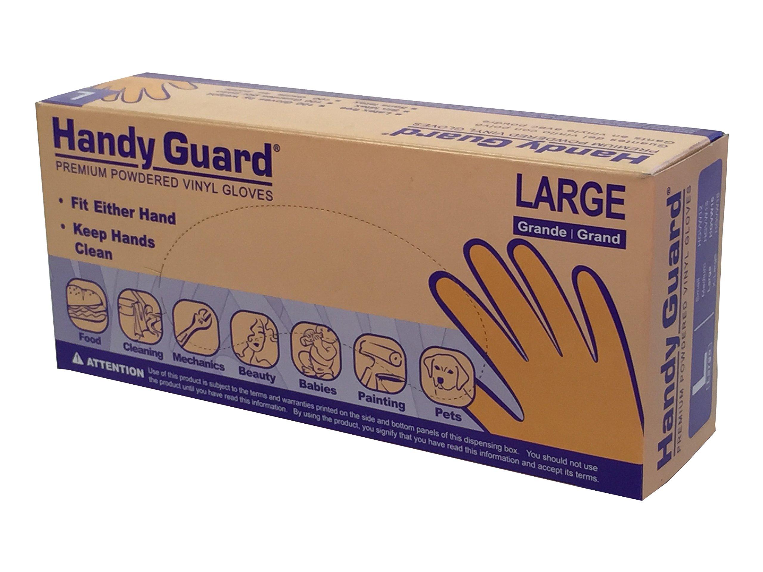 Adenna Handy Guard 3.5 mil Vinyl Powdered Gloves (Translucent, Large) Box of 100