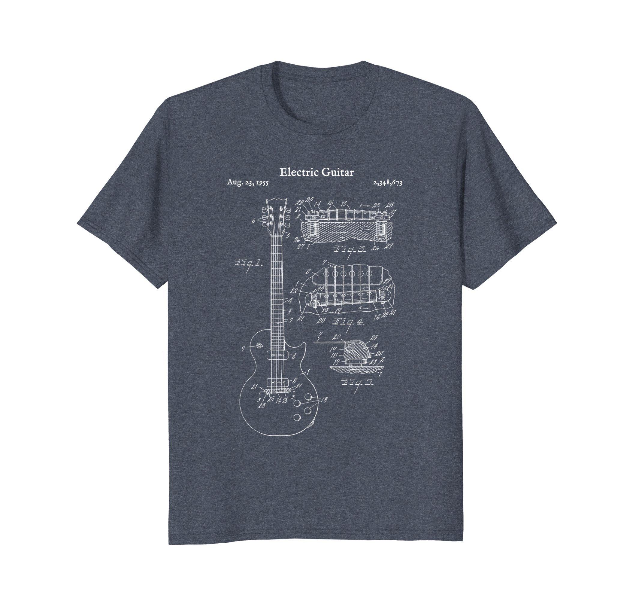 Mens Vintage Electric Guitar Blueprint Shirt - Rock Bass Player 3XL Heather Blue