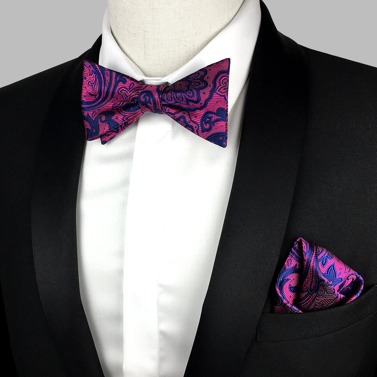 KOOELLE Floral Jacquard Pattern Bowtie for Mens Adjustable Classic Self Bow Tie Set