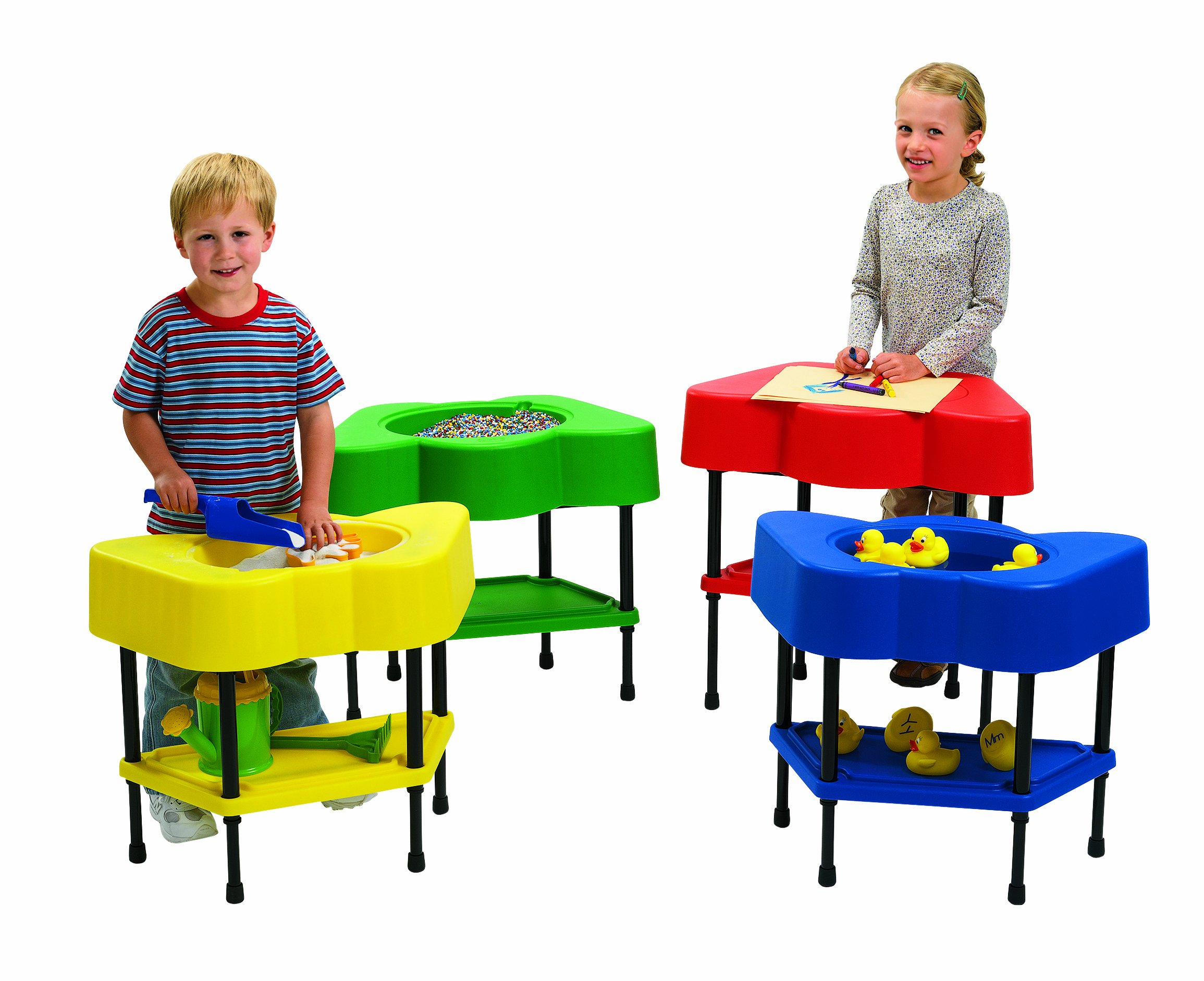 Angeles Adjustable Height Sensory Tables, 24'' by 13'' by 18-24'' (Set of 4) - Configure Fun Shaped Tables in a Row or Circle - Bright Colors, Lid and Storage Shelf - Fill with Sand, Toys, Beads and More by Angeles