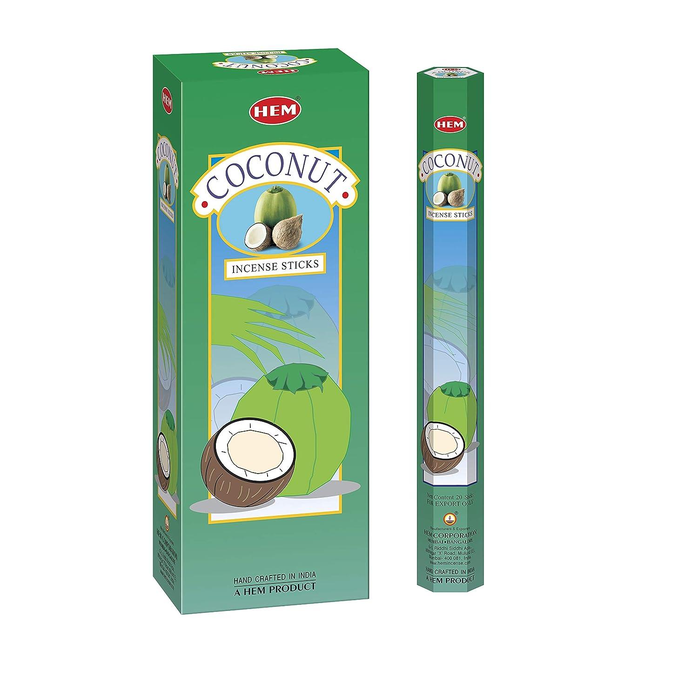 HEM Coconut Incense Sticks - Pack of 6 - 120 count - 301g
