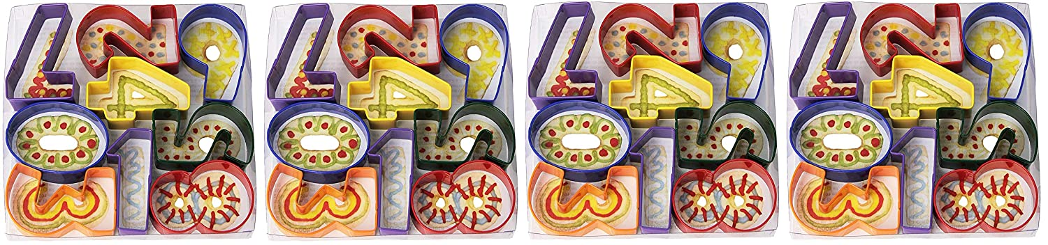 Assorted Colors R/&M International 1998 Numbers 3 Cookie Cutters 9-Piece Set