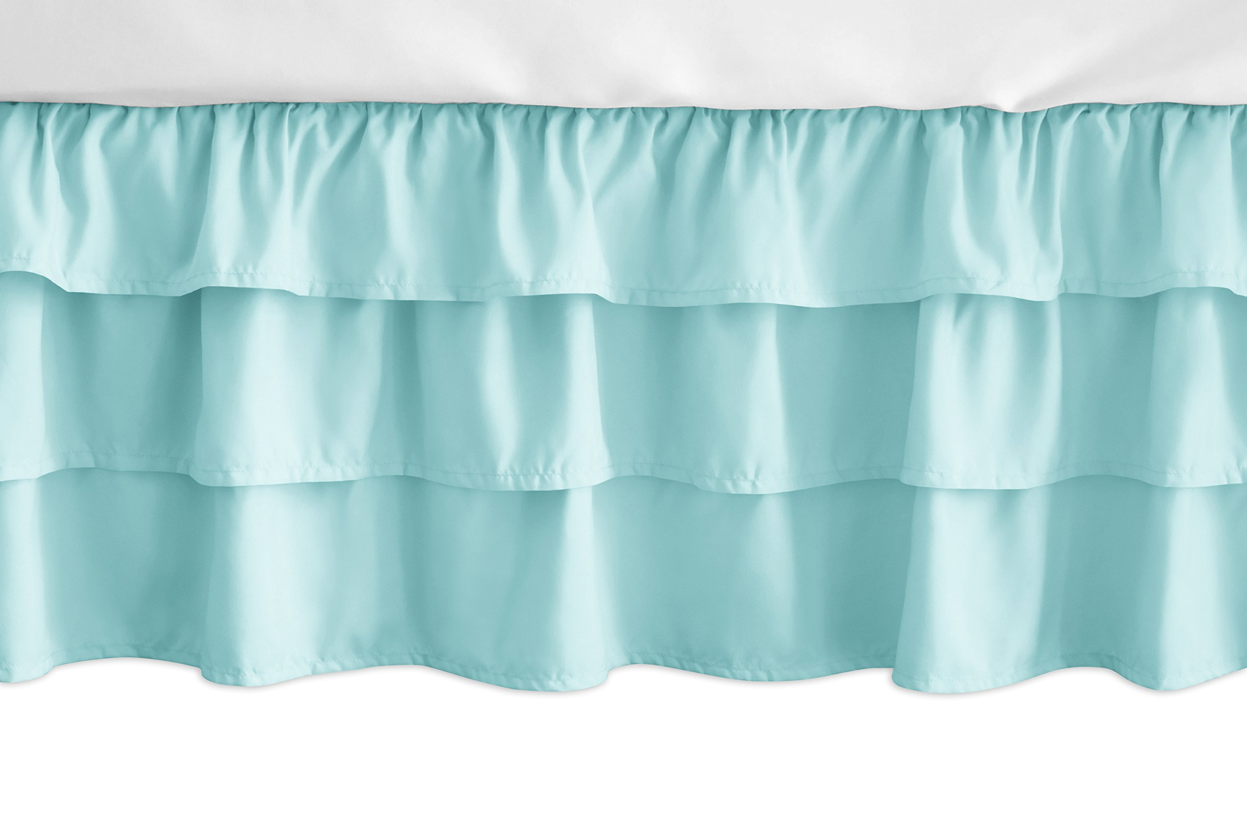 Sweet JoJo Designs Solid Turquoise Girl Ruffled Tiered Baby Crib Bed Skirt Dust Ruffle for Feather Collection