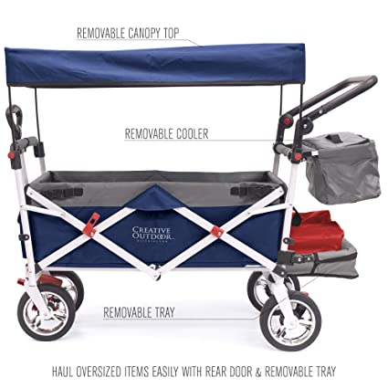 c9758efd4a0b Creative Outdoor Push Pull Collapsible Folding Wagon Stroller Cart for Kids    Silver Series   Beach Park Garden & Tailgate   Navy Blue