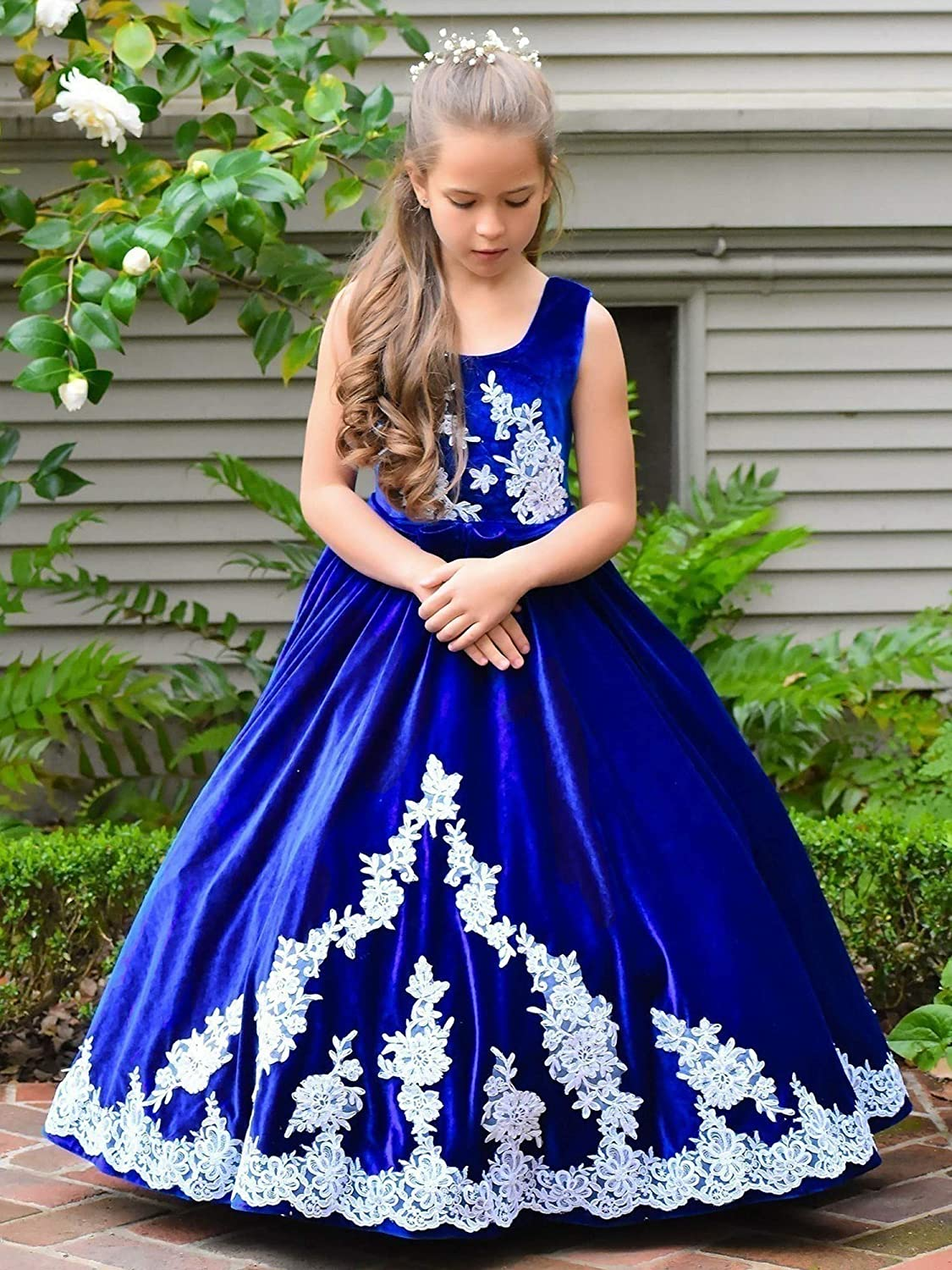 TriumphDress Big Girls Royal Blue Vintage Velvet Volga Flower Girl Dress 7//8
