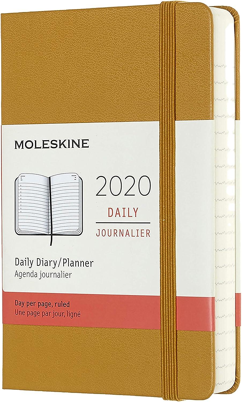 Moleskine - Agenda Diaria de 12 Meses 2020, Tapa Dura y Goma Elástica, Tamaño Pequeño 9 x 14 cm, 400 Páginas, Amarillo Ocre