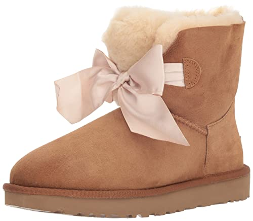 UGG Damen Gita Bow Mini Classic Boot Hellgrau
