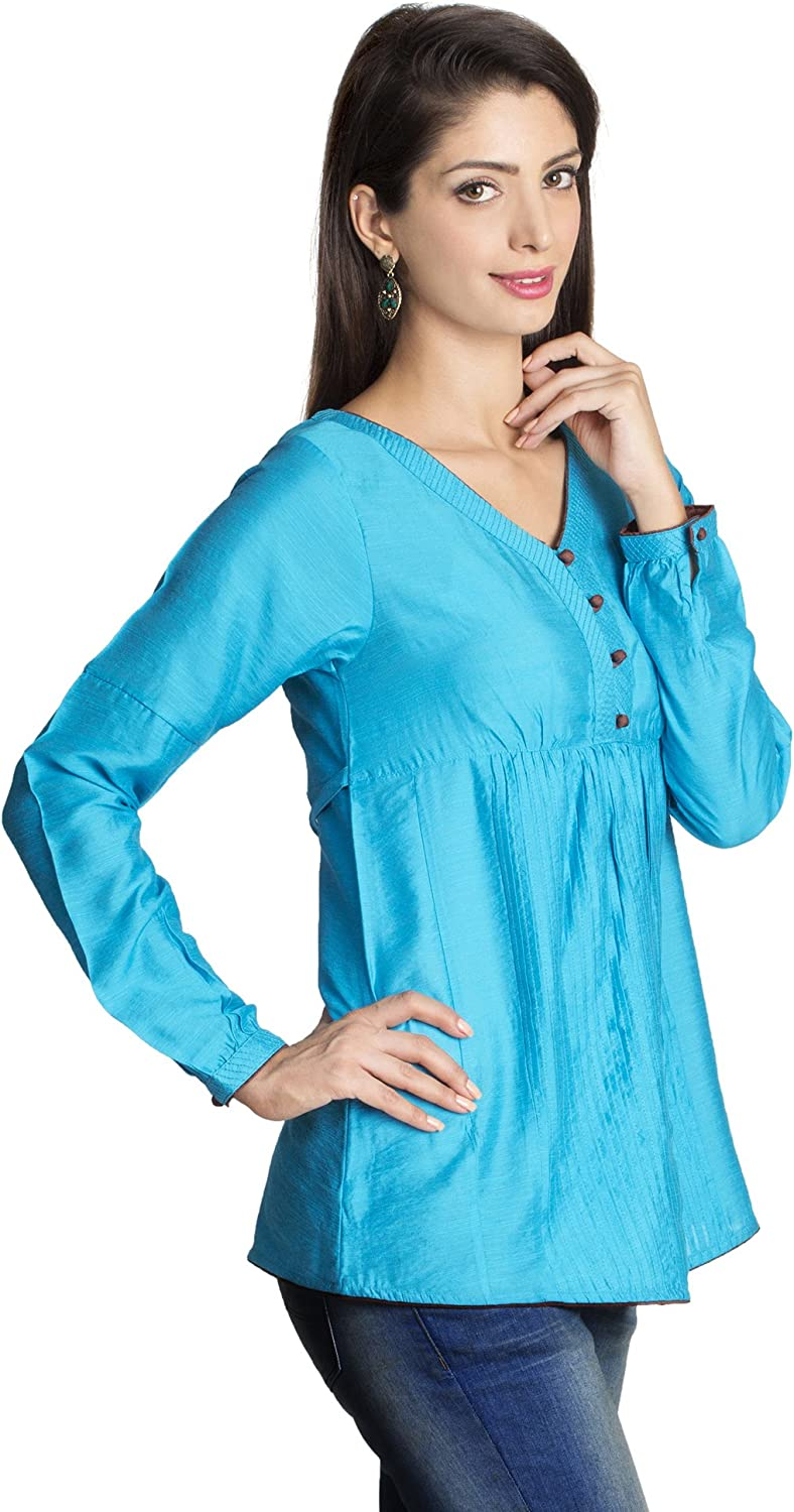 MOHR Womens Tunic Shirt with V-Neck and Full Length Sleeves
