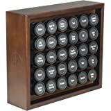 AllSpice Wooden Spice Rack, Includes 30 4oz Jars- Walnut