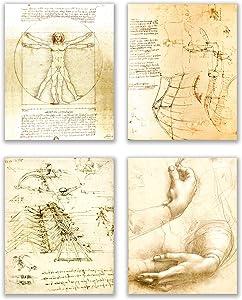 Leonardo da Vinci Art Prints - Set of 4 (8 inches x 10 inches) Wall Decor Photos - Vitruvian Man Drawing Sketch Renaissance Poster