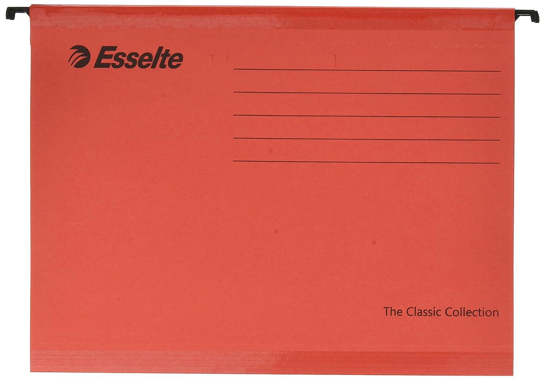 Esselte Cartella sospesa rinforzata, 90316, 25, Cartoncino rinforzato, Per formato A4, Rosso, Portaetichette con etichette