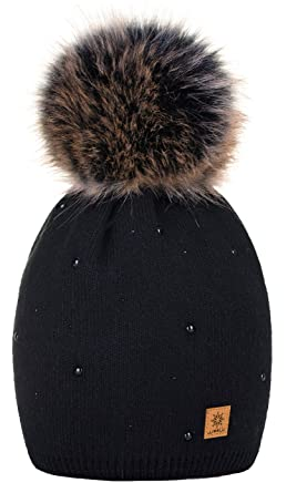 a9378cc9 4sold Womens Ladies Winter Hat Wool Knitted Beanie with Large Pom Pom Cap  SKI Snowboard Hats Bobble Gold Circle Stars Crystals