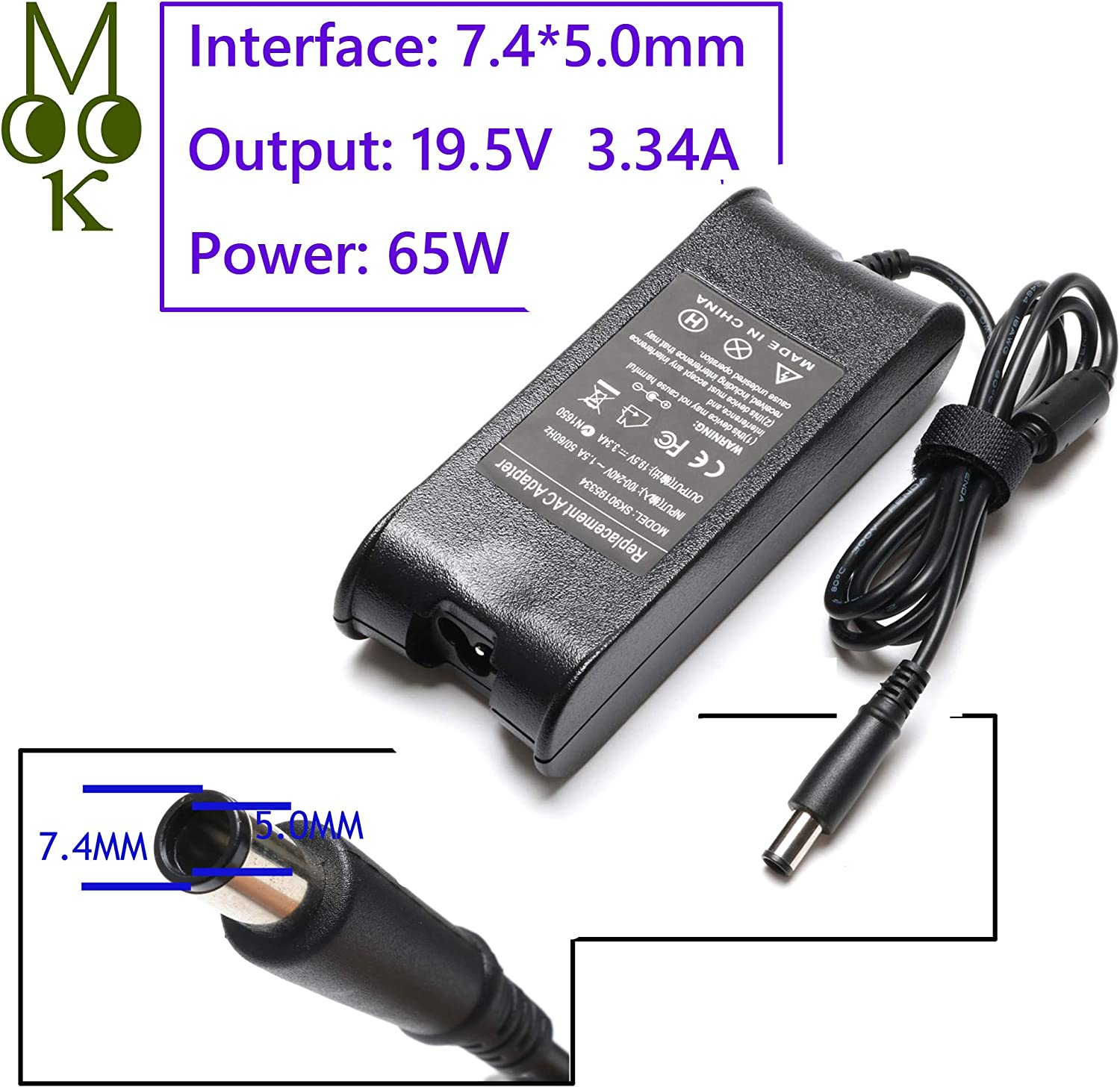 65W 19.5V 3.34A Laptop Charger for Dell Latitude E6430 E5470 E5540 E7440 E7450 5490 7480 7490 LA65NM130 inspiron 15 3521 Ac Adapter Power Supply Cord