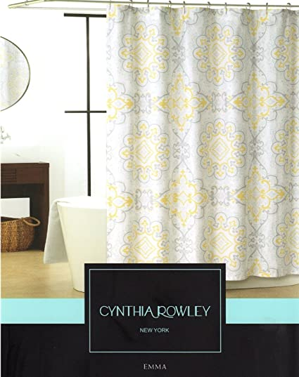 Cynthia Rowley Emma Medallion Damask Shower Curtain In Shades Of Grey,  Yellow, Pale Aqua