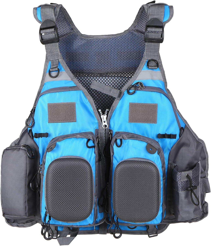 Life Jackets Adults Life Vest Fishing Adult Auxiliary Swimming Unisex Adjustable Canoe Kayak Dinghy Sailing Buoyancy Aid Jacket with Multi Pockets Vest,blue
