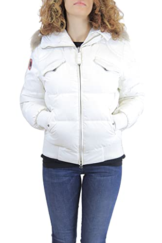 Museum Women Goose Down Jacket with Real Fur Hood color White