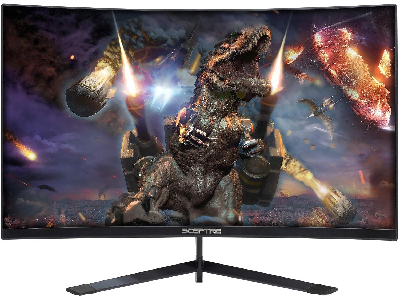 Sceptre 24 Curved 144Hz Gaming LED Monitor Edge-Less AMD FreeSync DisplayPort HDMI, Metal Black 2019 C248B-144RN