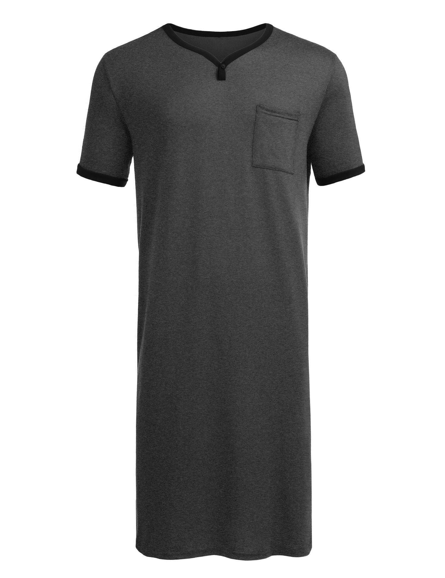 Luxilooks Men's Nightshirt Cotton Sleep Shirt Comfy Mightwear Short Sleeve HenleyLoungewear (Dark Grey1, XX-Large)