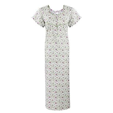 6aa1c0a665 The Orange Tags Ladies Short Sleeve Nightdress 100% Cotton Sizes 16-20 Zip  Night Shirt Nightie-Green-XL (16-20)  Amazon.co.uk  Clothing