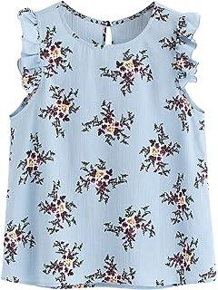 2350f35669e940 Floerns Women s Stripe Sleeveless Round Neck Casual Frill Trim Blouse Top
