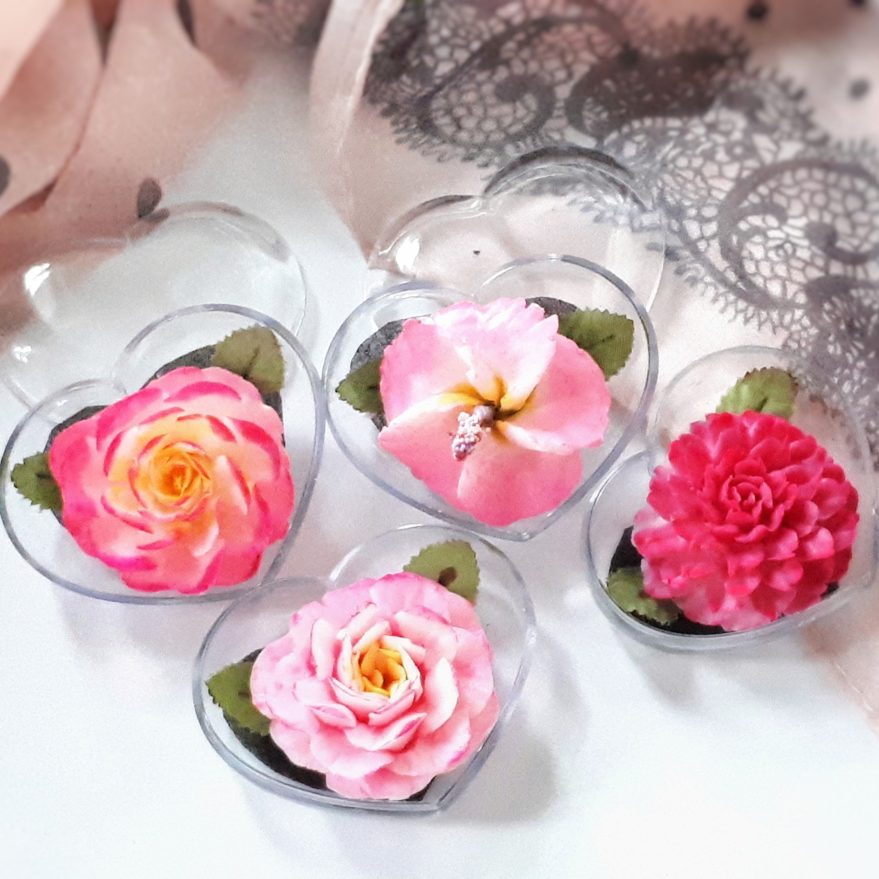Valentine Pink Flower Set of 4 Hand Carved Decorative Soaps with Jasmine Aroma Essential Oil, Handmade by Thai Artisan. Love Valentine's day