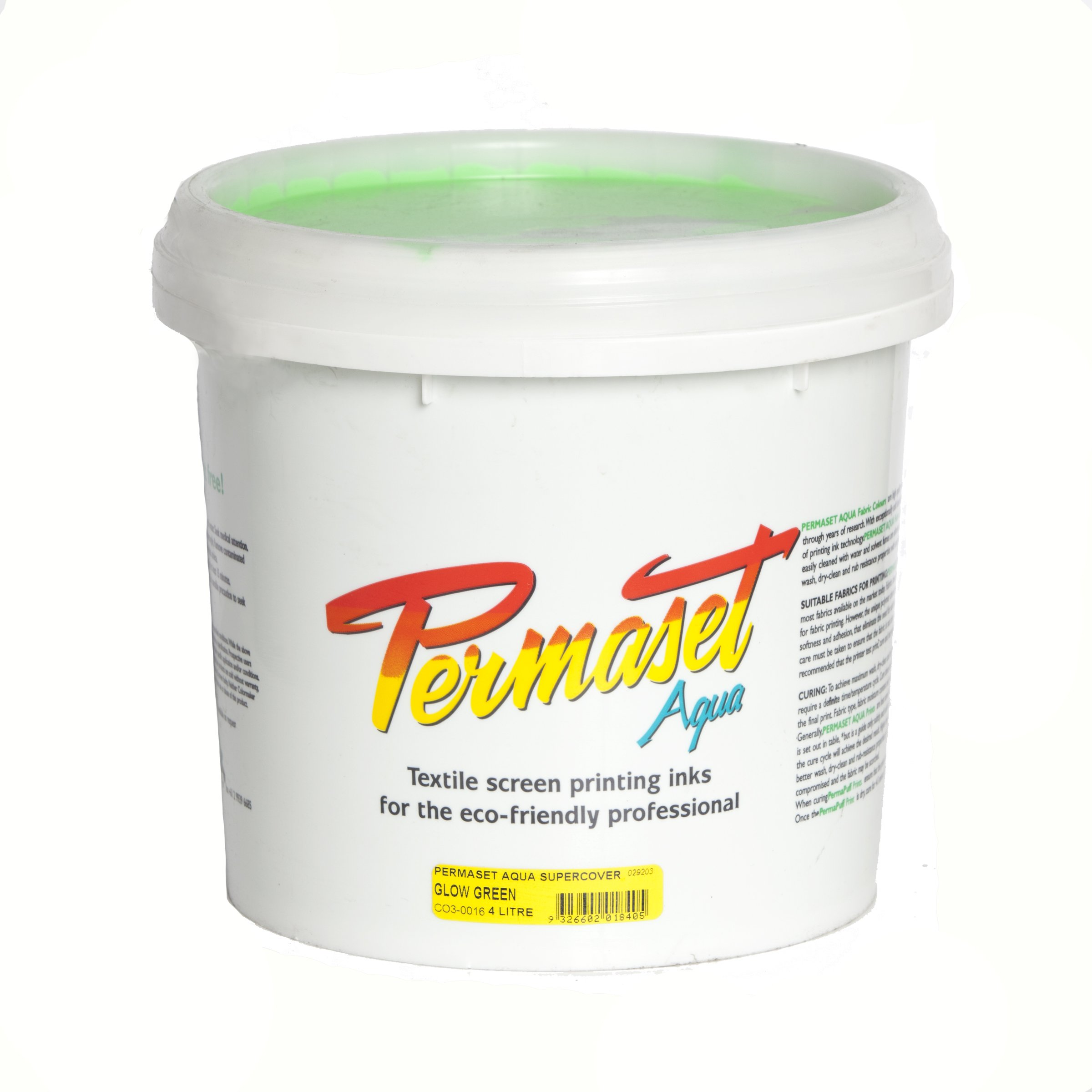 Permaset Aqua Supercover 4 Litre Fabric Printing Ink - Glow Green by OfficeMarket