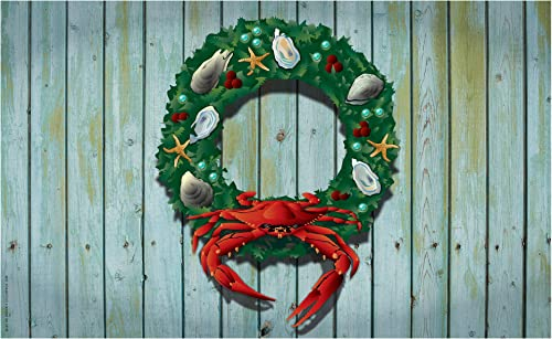 Citizen Pride Holiday Crab Wreath Door Mat by Joe Barsin, 30×18