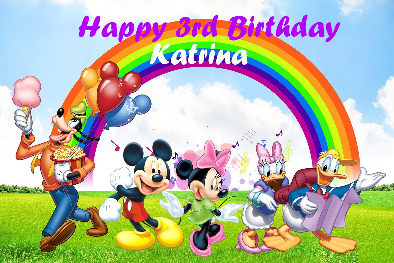 Personalized Mickey Mouse Backdrop - Disney custom birthday party decoration banner comic cartoon style rainbow outdoor - Printed Fabric Photography Background (P0176, 12' wide by 8' tall) by BestDrop